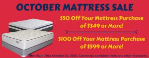 October Mattress Sale